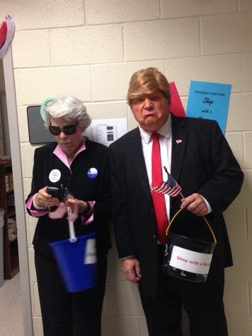 Ms. Dye as Hillary Clinton and Kienel as Donald Trump.